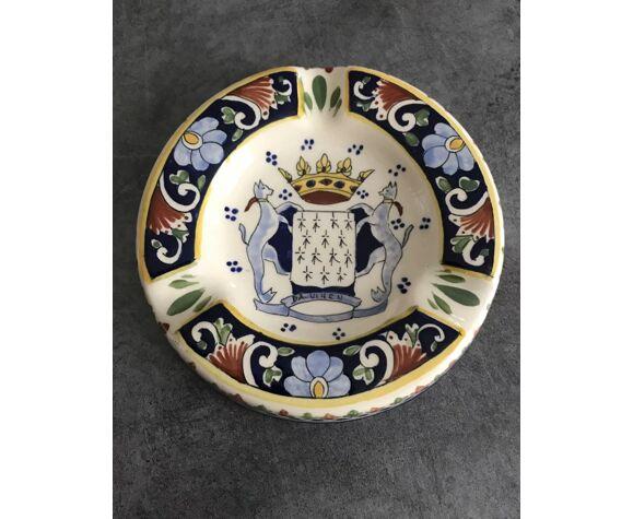 Cendrier en céramique peinte blason armoirie saint malo 14,5 cm