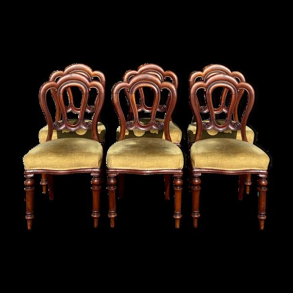 Selency Suite de six chaises d'époque XIX eme en acajou