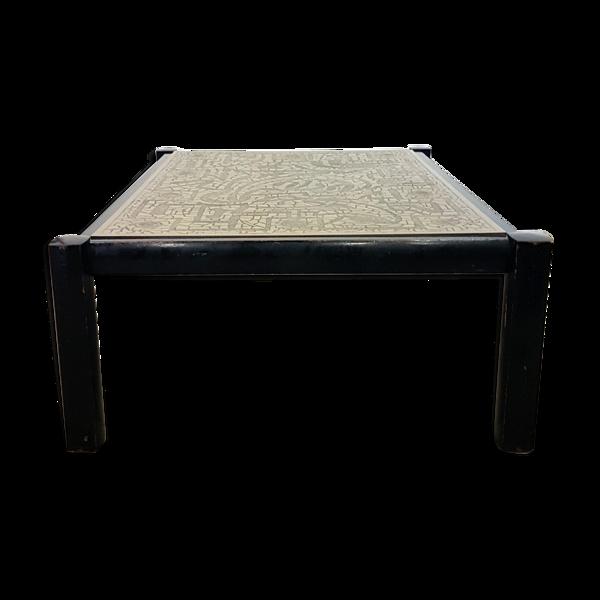 Selency Table basse de style brutaliste gravée, 1960