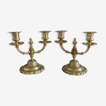 Paire de chandeliers 2 feux en laiton
