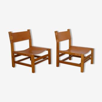 Paire de fauteuils en orme et cuir de maison regain 1970