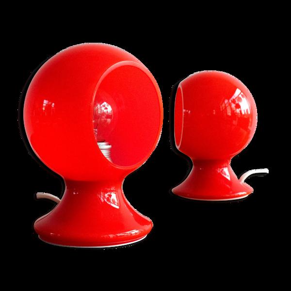 Lampes de table en verre space age italienne, années 1970