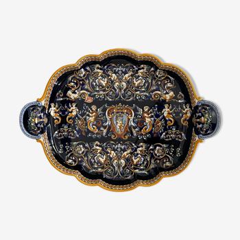 Plateau polylobé gien polychrome à décor de grotesque fait main france