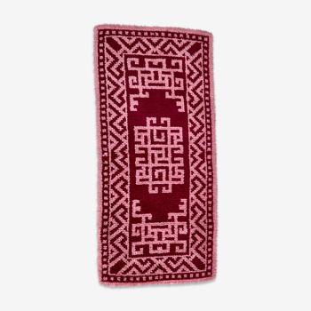 Tapis bohème pure laine années 70 - 126x57cm