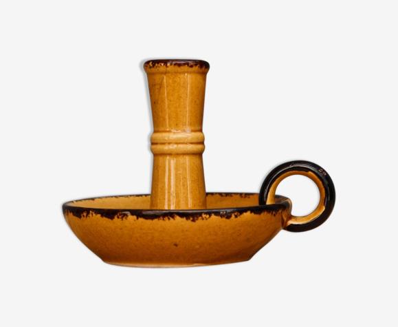 Bougeoir à main en terre cuite vernissée