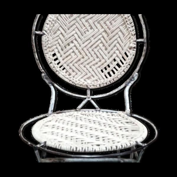 Chaise ronde blanche métal et jute années 50-60