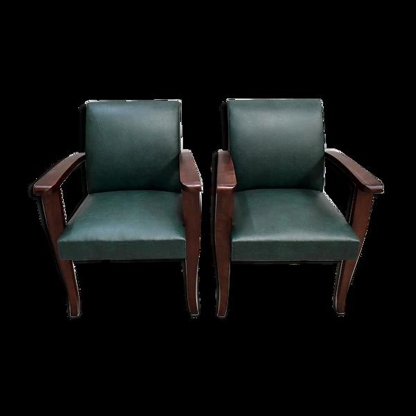 Paire de fauteuils bridge, en hêtre ton acajou – 1940