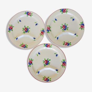 Lot de 3 assiettes à fondue vintage de Longchamp modèle Marly en porcelaine