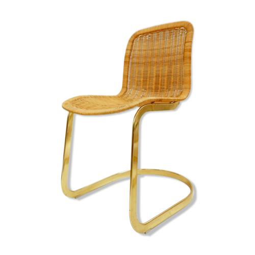 Set de 6 chaises de salon en osier de Cidue 1970
