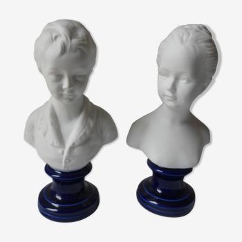 Bustes en biscuit de porcelaine Limoges