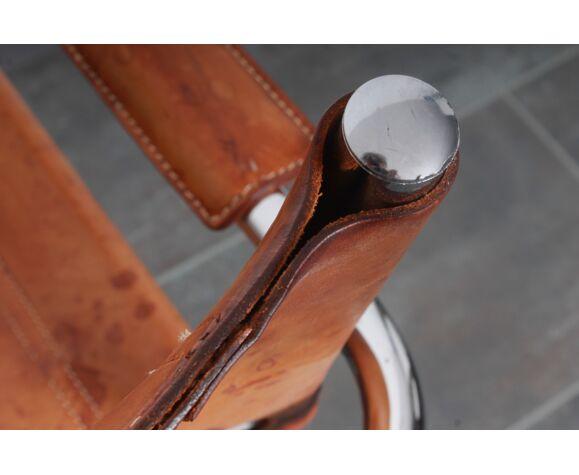 Fauteuil en cuir cognac
