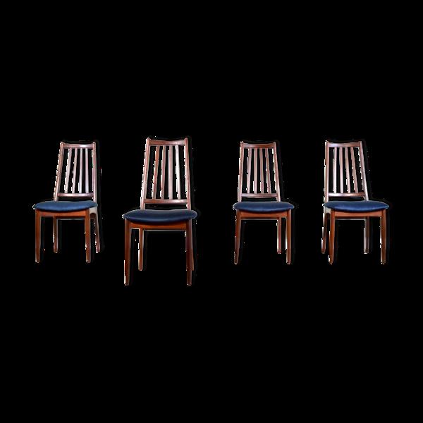 Lot de 4 chaises scandinaves afromosia et velours de milieu du siècle