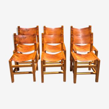 Chaises cuir et bois