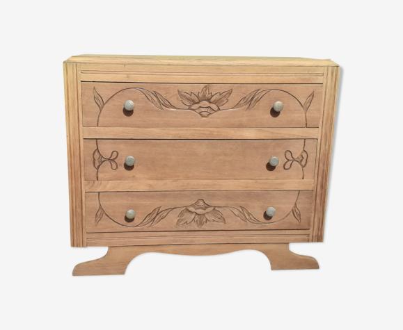 Commode 3 tiroirs art déco bois brut