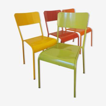 Lot de 4 chaises en métal