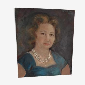"""Portrait à l huile """"Madame Pilar"""""""