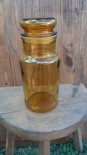 Flacon d'apothicaire bouteille bocal alimentaire en verre  vintage années 70