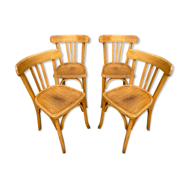 Selency 4 chaises bistrot Baumann bois courbé 1960