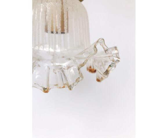 Lampe baladeuse vintage decor givré et jupon liseré doré