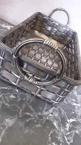 Panier corbeille métal tressé  année 50