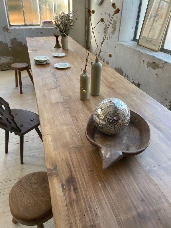 Table de ferme pin et hêtre XXL 4m