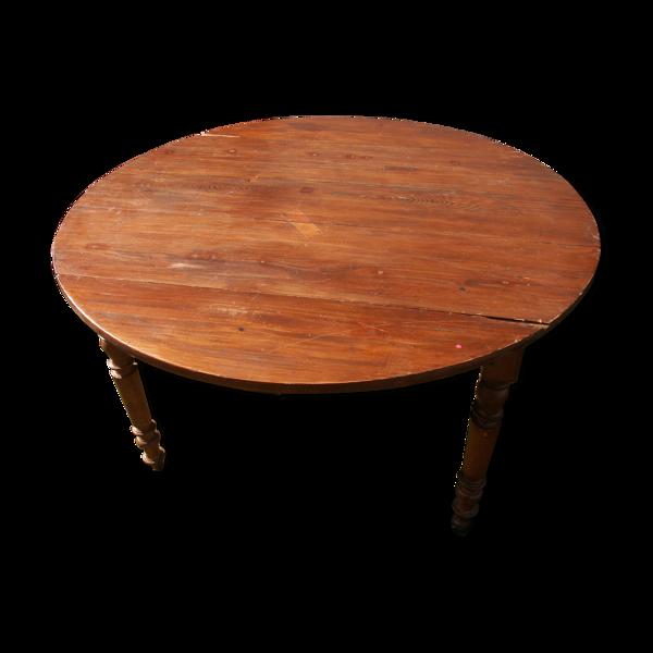 Table ronde à rabats en hêtre et pin