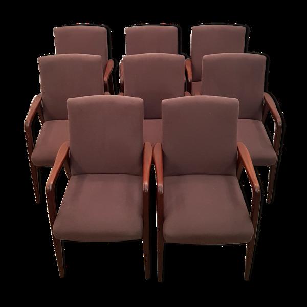 Ensemble de 8 fauteuils en teck danois