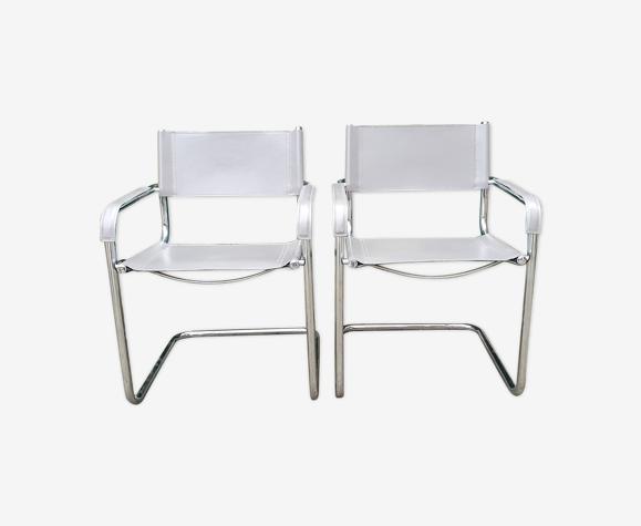 Paire de chaises en cuir S34 par Mart Stam