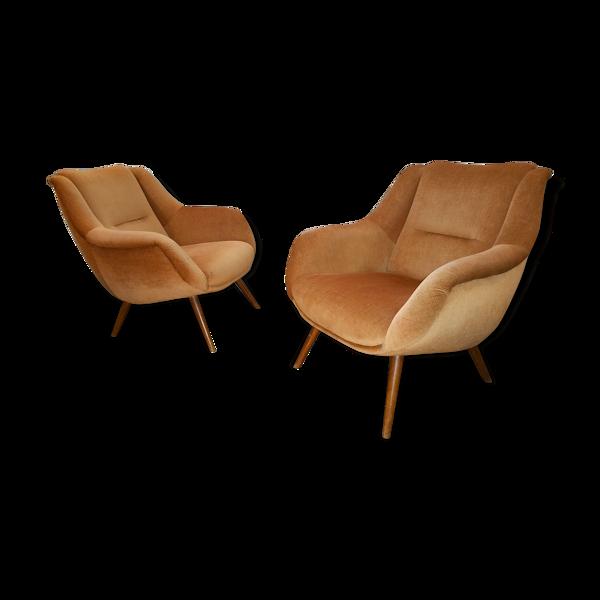 Paire de fauteuils sculpturaux vintage années 60 restaurés