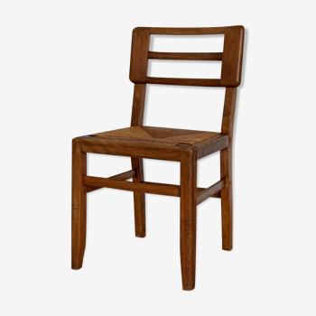Chaise vintage en paille Pierre Cruège