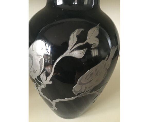 Vase verre noir