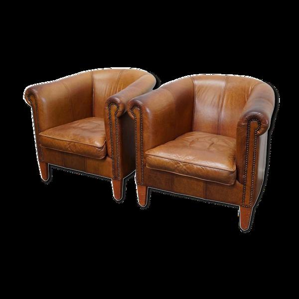 Set de 2 fauteuil club vintage en cuir de couleur cognac Pays-Bas