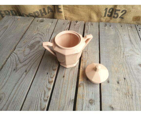 Sucrier en céramique ancien rose Digoin Sarreguemines