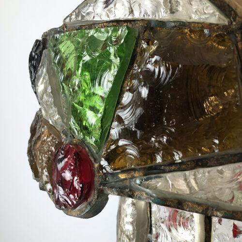 Lustre fer brutaliste italien Poliarte en verre coupé des années 70