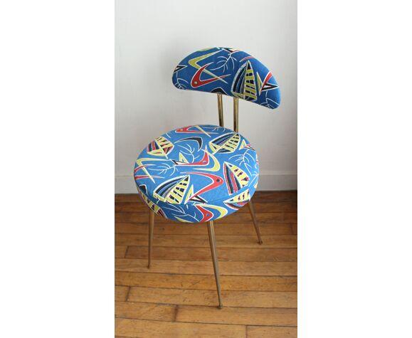 Chaise pelfran restaurée dans un tissu des années 50
