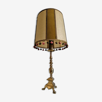 Lampe pied bronze tripode style bougeoir