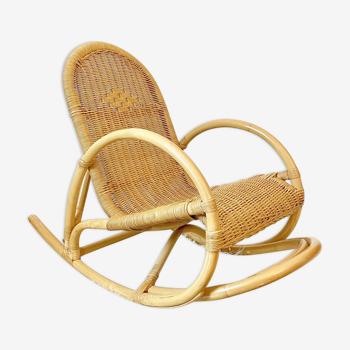 Rocking chair vintage enfant en rotin