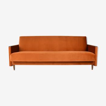 Vintage sofa, convertible couch, fully restored, 1960s, russet orange velvet