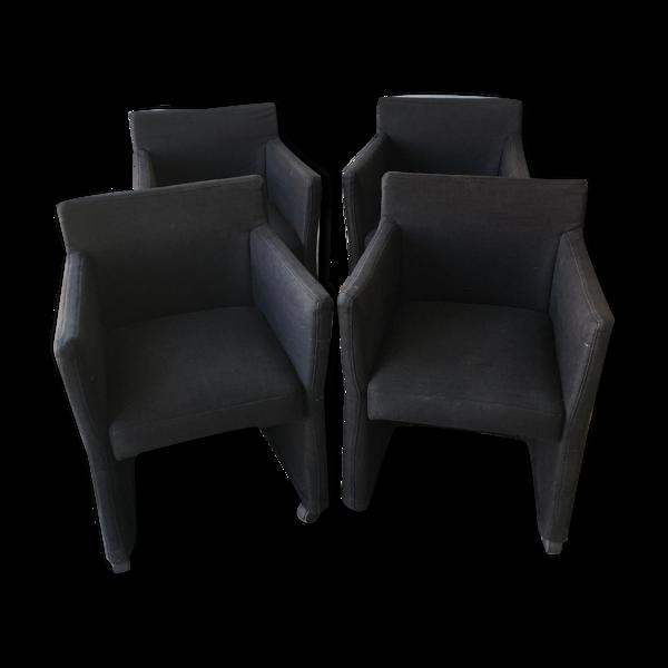 Lot de 4 fauteuils de table à roulettes