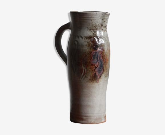 Pichet à eau en grès gris et brun, Poterie artisanale