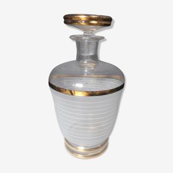 Carafe en verre ancienne style art deco lignes dorées
