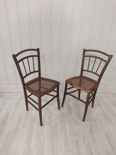 Duo de chaises bistrot cannées