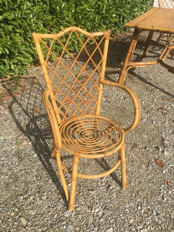 Table et 4 fauteuils rotin osier