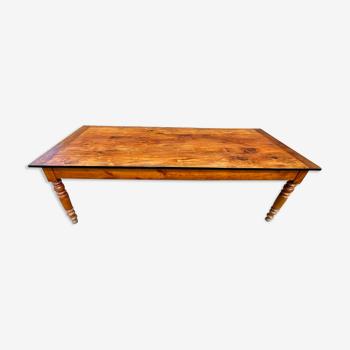 Table de ferme à repas à manger pour 8/10 personnes en bois massif avec 1 tiroir et 1 tablette 1900
