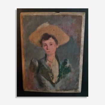 Huile sur panneau école impressionniste portrait féminin fin XIXème