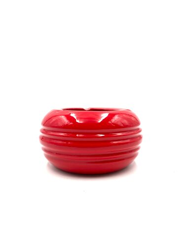 Cendrier en céramique rouge, Pino Spagnolo, Sicart, années 1970