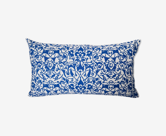 White Etnik cobalt- 30 x 50 cushion cover
