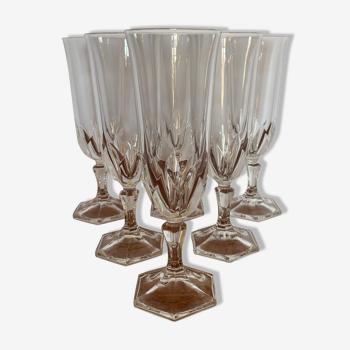6 flûtes à champagne en cristal d'Arques