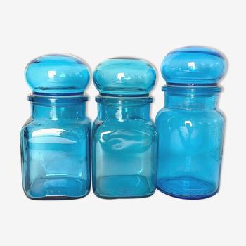 Lot de 3 flacons en verre bleu Ariel