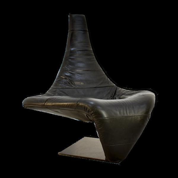 Selency Chaise sculpturale de salon en cuir noir, modèle 'Turner', conception par Jack Crebolder pour Harvink, Pays-Bas 1982